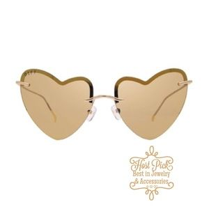 DIFF Remy Gold Heart Mirror Sunglasses